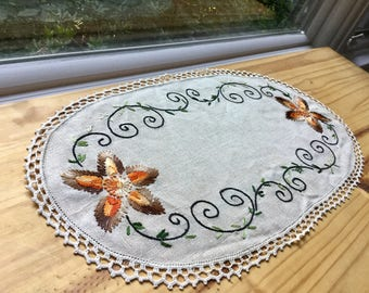 Vintage oval hand embroidery linen table doily houseware home decor, vases Free shipping