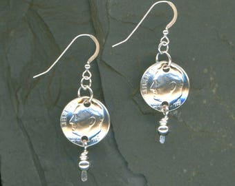 45th Birthday Gift 1972 Dime Earrings 45th Anniversary Gift Beaded Coin Jewelry 1972 Dimes