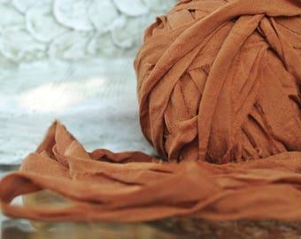 Chiffon Sari Silk Ribbon Yarn, 1,2, 3 or 5 Yards, Soft Sari Silk, Chiffon Silk, Ribbon Jewelry Supply, Earthy Colorway, Skin Soft,