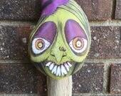 EHAG OOAK Halloween Decoration Handmade Witch Ornament Folk Art in Green Purple and Orange Vintage Style Whimsical Ornie Free Ship USA