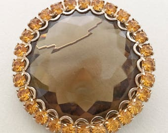 Chunky Rhinestone Brooch, Vintage Jewelry, Rhinestone Jewelry, Smoked Topaz Colored Brooch, Rhinestone Brooch, Big Open Set Stone Brooch