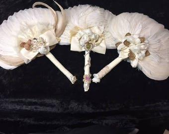 Wedding/Bridal Feather Fans Designer adorned (FFs5044)
