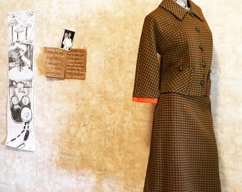 Vintage 60s Orange and Brown Houndstooth Check Plaid Secretary Wiggle Skirt Suit  small medium