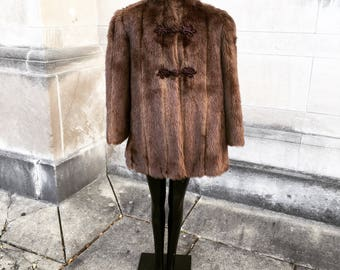 Vintage 40s Brown Faux Fur with Asian Influence   large  extra large