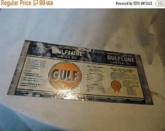 Back Open Sale Unrolled Gulf Gulflube Motor Oil One Quart Tin Can or Sign From Estate