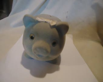 Vintage Blue Felt & Plaster Still Piggy Bank With Stopper, collectable