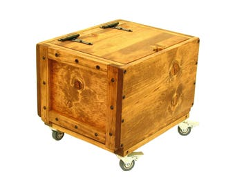 Lidded Wood Crate on Wheels, Rolling Wood Box, Small Trunk on Wheels, Rolling Lidded Chest, Mobile Box with Lid, Lidded Wood Box on Wheels