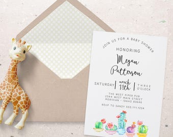 CACTUS BABY SHOWER  Printable Party Invitations - I design - You print - matching favor bags available