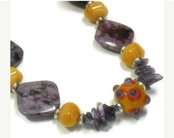 Sale| Sugilite Gemstone Necklace, Purple Amethyst, Orange Aventurine, Chunky, Lampwork Focal, Violet, Funky, Fun Jewelry, Gemstone Jewelry