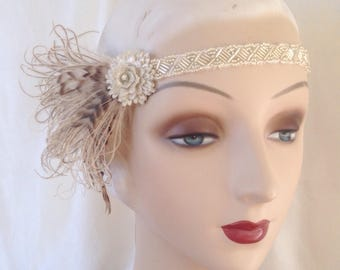 1920's headband silver flower and brown striped feather flapper headpiece 1920's style headdress with vintage beadwork - ready to ship