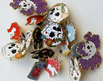 SECONDS Hard Enamel Pins -Flawed & Faulty - Lapel Pin, Cloisonné Badge, Enamel Brooch, Skull Pin, Wolf Pin, Fox Pin, Gamer Pin, Heart Pin