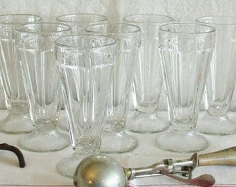 Set of 8 Vintage Heavy Soda Fountain Glasses