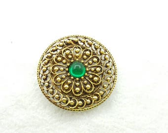 ART Signed  Green Glass Scarf Clip and Brooch ornate Mid Century Scarf Slide