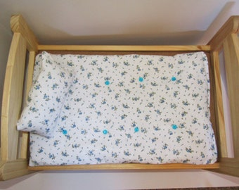 "Blue Flowers Tufted Mattress for Doll Bed, 18"" with Matching  Pillow Set for American Girl Doll 19x12"""