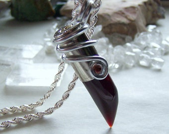 Amber Agate Horn Wire Wrapped Bullet Jewelry Pendant