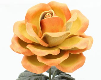 Circus Leather Rose Large Third Wedding Yellow Red Orange Stem Leather Flower Valentine's Day 3rd Leather Anniversary