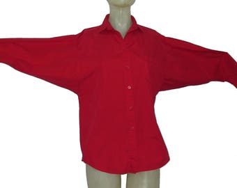 Vintage Kenzo Album Blouse Batwing Sleeves Red size P Made in Japan