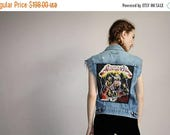 On SALE 45% Off - Vintage 80s Rare Metallica Levi's Heavy Metal Patch Distressed Denim Jean Band Vest - 1980s Levi Strauss - 80s Clothing -