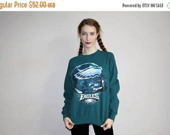 On SALE 45% Off - Vintage 90s Philadelphia Eagles NFL Pullover Sweatshirt - 1990s NFL Sweatshirts - 90s Clothing - Wv0375