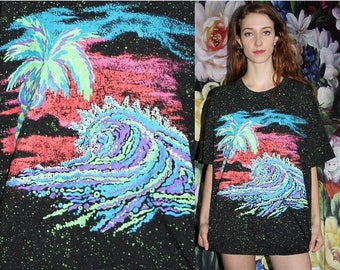 On SALE 35% Off - Vintage 1990s Neon Paint Splatter Palm Tree Graphic Black Oversized T Shirt - 1990s Vintage Tees - 90s Clothing - WV0429
