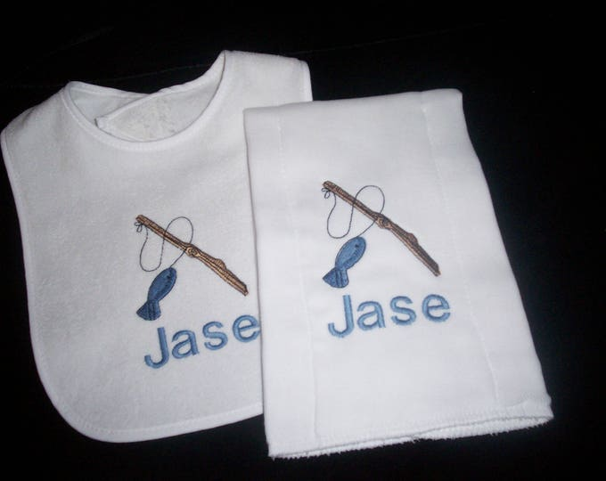 Fishing baby set - Fishing personalized baby gift  - Personalized baby boy gift - fisherman bib - embroider baby set - personalized baby