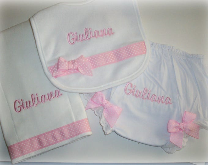 Personalized baby girl gift - Embroider baby gift - Personalized bloomer set - embroider bib, burp cloth and diaper cover set - pink baby