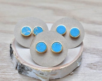 20% EARRING STUD SALE Blue Round Sea Sediment Bezel Stud Earrings/ Gold Stud Post Earrings Natural Bright Blue/ Sea Sediment Stone (Gsl10-Bl