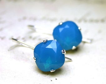 ON SALE Blue Opal Earrings - Swarovski Crystal Cushion Cut Stones with Long Leverback Wires in Caribbean Opal