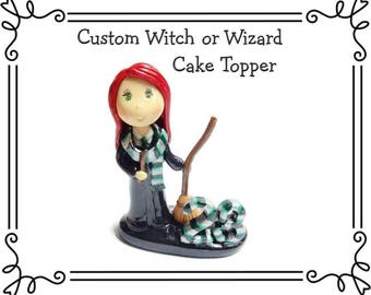 Custom Cold Porcelain Witchcraft School of Magic Student Figurine, Wizard Cake Topper, Witch Cake Topper, Personalized Clay Sculpture, Gift