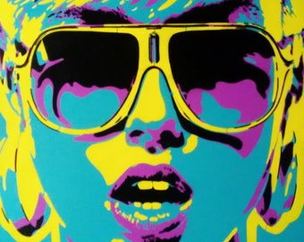 1 DIGITAL DOWNLOAD pop art woman painting canvas stencil art spray paint sunglasses earings abstract portrait print home living art fashion