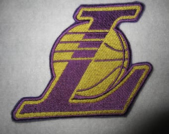 Embroidered L A Lakers Basketball Iron On Patch, Lakers, Iron On Patch, Lakers Applique, LA Lakers, Basketball