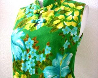 Vintage 60s Green Hawaiian Maxi Dress w Mandarin Collar - 1960s Asian Style Hawaiian Dress - Sleeveless Hawaiian Dress - Medium to Large 12