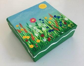 Wildflower Mini Art, Daily Doodle 4x4 mini acrylic canvas painting