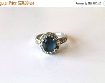 AWAY SALE 20% off vintage sterling silver imitation sapphire ring - SEPTEMBER birth stone rhinestone / size 9