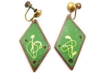 BIG Vintage 1950s 60s SIGNED Handmade Copper Enamel Modernist Design Screw EARRINGS