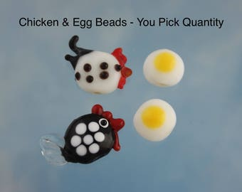 Chicken & Egg Lampwork Glass Beads- White hen with black spots, Black hen with white spots, Fried eggs- you pick quantity