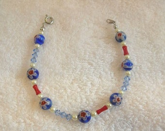 Beaded Bracelet Red White And Blue - Fashion Jewelry