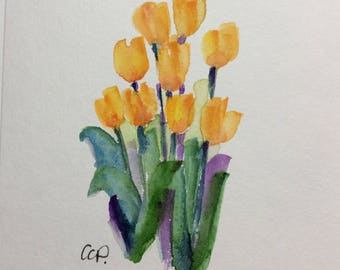 Yellow Tulips Watercolor Card / Hand Painted Watercolor Card