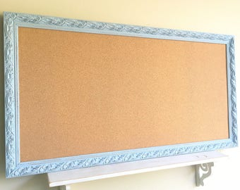 Huge CORK BOARD Blue Framed Bulletin Board Home School Organizer Wall Organizer Home Office Wall Decor Large Gold Corkboard Pinboard