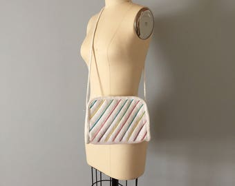 RAINBOW stripes woven bag // cross body woven straw zipper purse