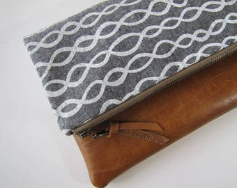 Foldover Clutch, Vegan Leather Clutch Bag, Gray Clutch,Evening Bag,Fall Clutch, Bridesmaid Gift, Holiday Gift, Gift for Her