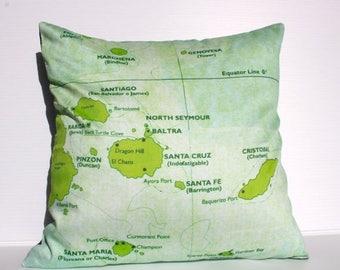 SALE SALE SALE Vintage map print pillow Galapagos / organic cotton/ cushion cover/  16 inch, 41cm