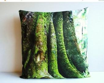 "SALE SALE SALE decorative pillow cushion cover, throw pillow tree pillow Morton Bay Fig tree organic cotton cushion cover, pillow, 16"", 41cm"