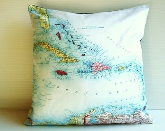 SALE SALE SALE Vintage map cushion pillow, map cushion, Caribbean organic cotton,pillow, cushion cover, 16x16, 40cm cushion, organic cotton.