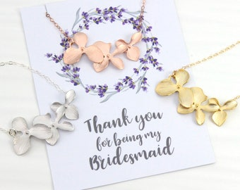 Bridesmaids Necklace Gift, Rose Gold Orchid Flower Necklace, Wedding Bridal Gift, Avail. in Silver and Gold