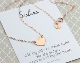 Sisters Necklace, Personalized Rose Gold Heart Necklace, Monogramed Initial Disc, Sister's Birthday Gift