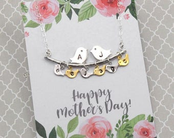 3 Day SALE Silver Lovebirds and Baby bird Necklace, With/Without Message Card, Initialed Bird Necklace, Gift for Her
