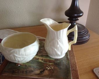 Belleek Lily Pattern Sugar and Creamer