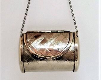 Silver Plated Handbag Pillbox... Miniature Clutch Bag... Pill Box Purse... Novelty