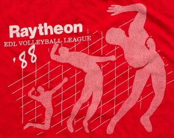 Raytheon EDL Volleyball League T-Shirt, 1988 Graphic Tee, Vintage 80s, Air Military Defense Company, Soft/Lightweight, Retro Graphic Tee